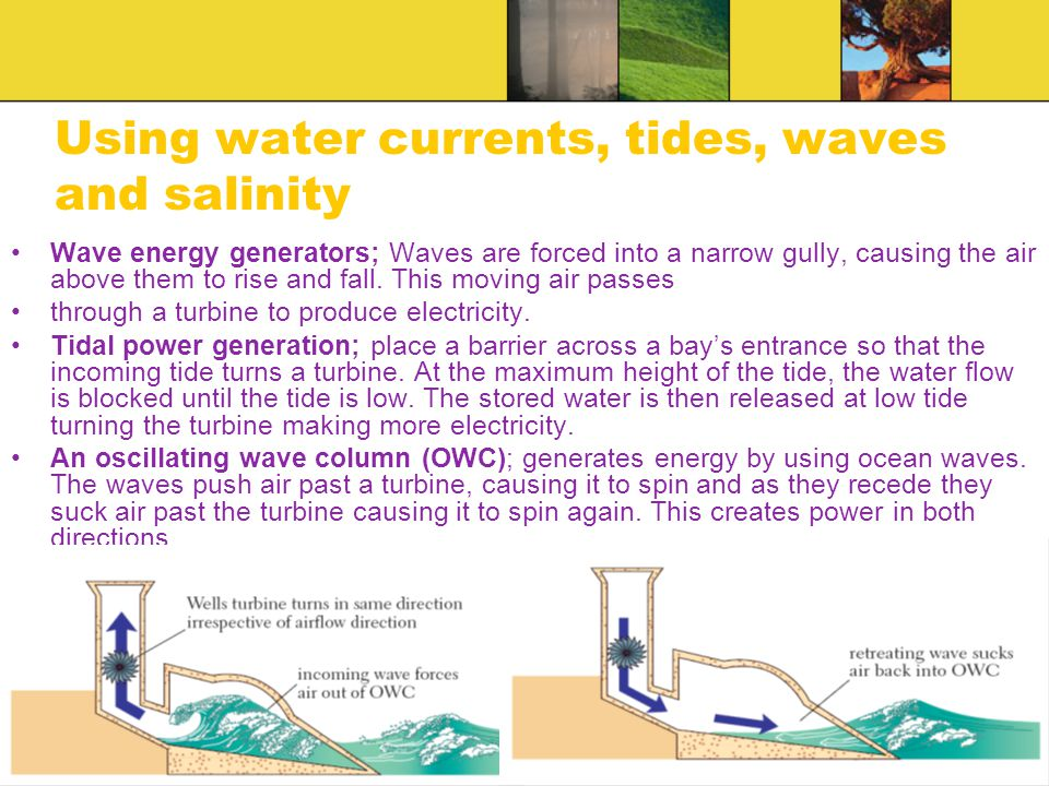 Using water currents, tides, waves and salinity