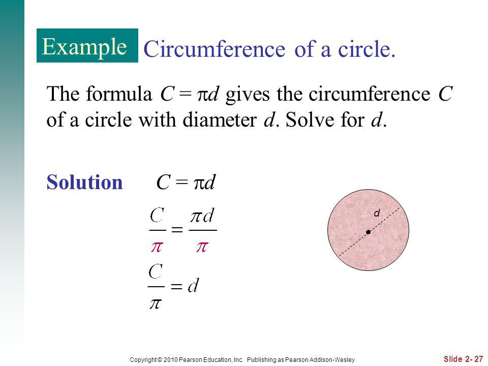 Circumference of a circle.