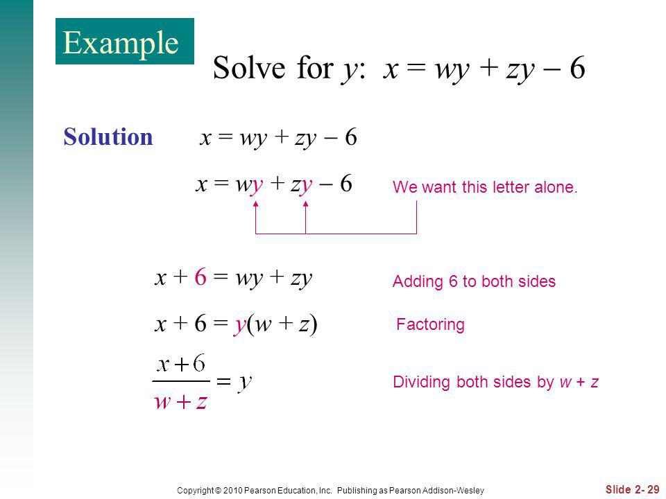 Example Solve for y: x = wy + zy  6 Solution x = wy + zy  6