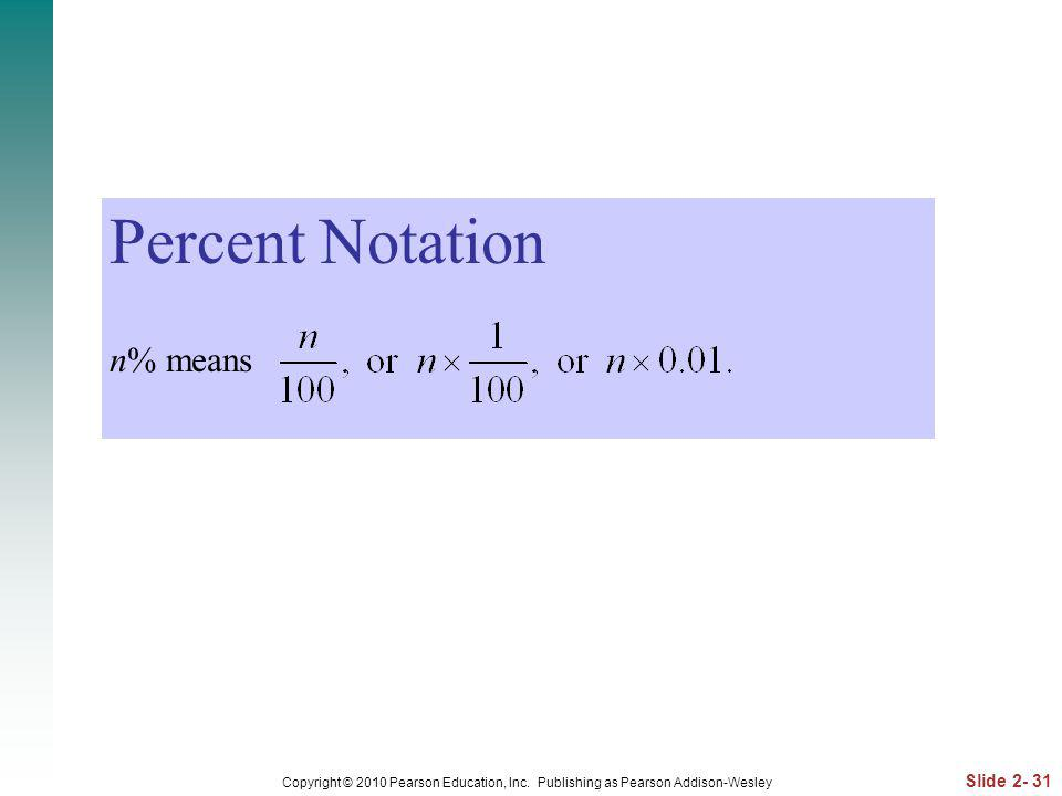 Percent Notation n% means
