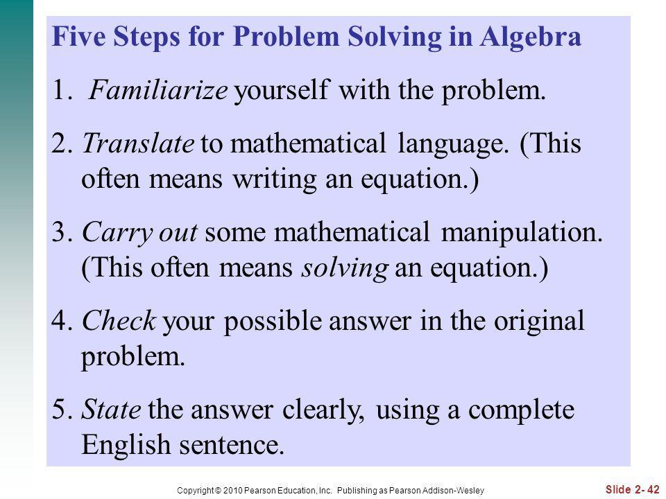 Five Steps for Problem Solving in Algebra