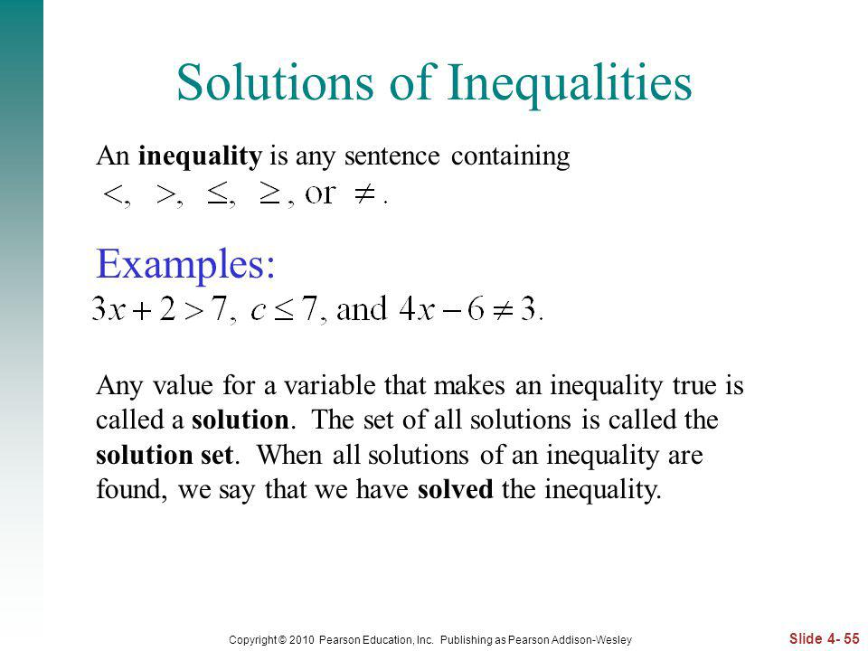 Solutions of Inequalities