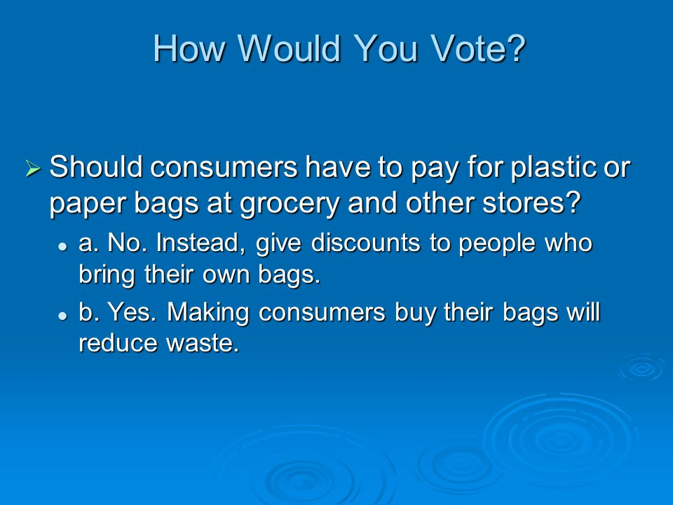 How Would You Vote Should consumers have to pay for plastic or paper bags at grocery and other stores