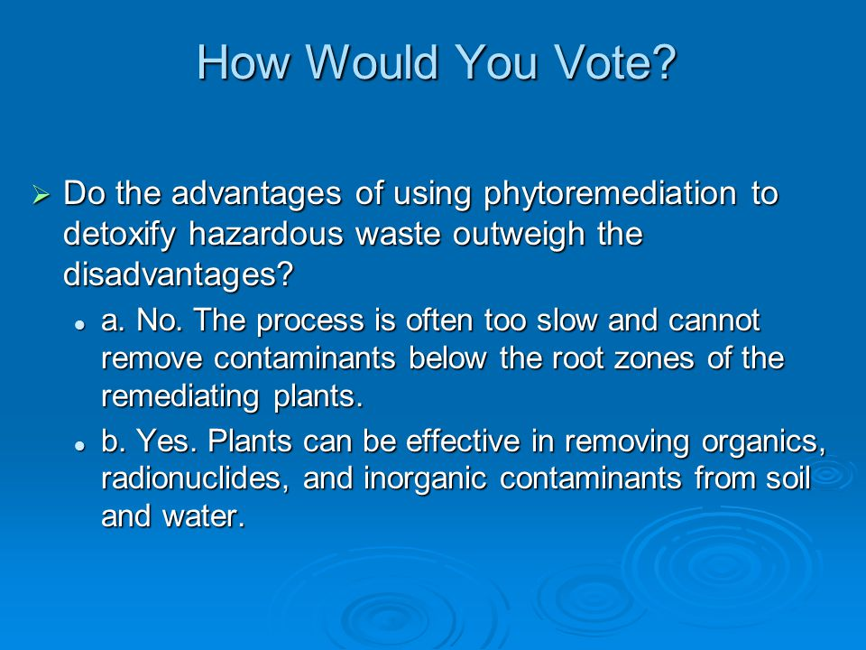 How Would You Vote Do the advantages of using phytoremediation to detoxify hazardous waste outweigh the disadvantages