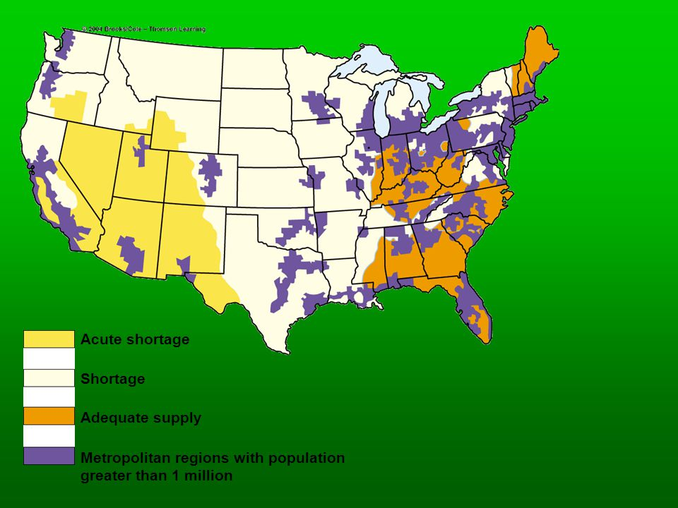 Acute shortage Shortage Adequate supply Metropolitan regions with population greater than 1 million