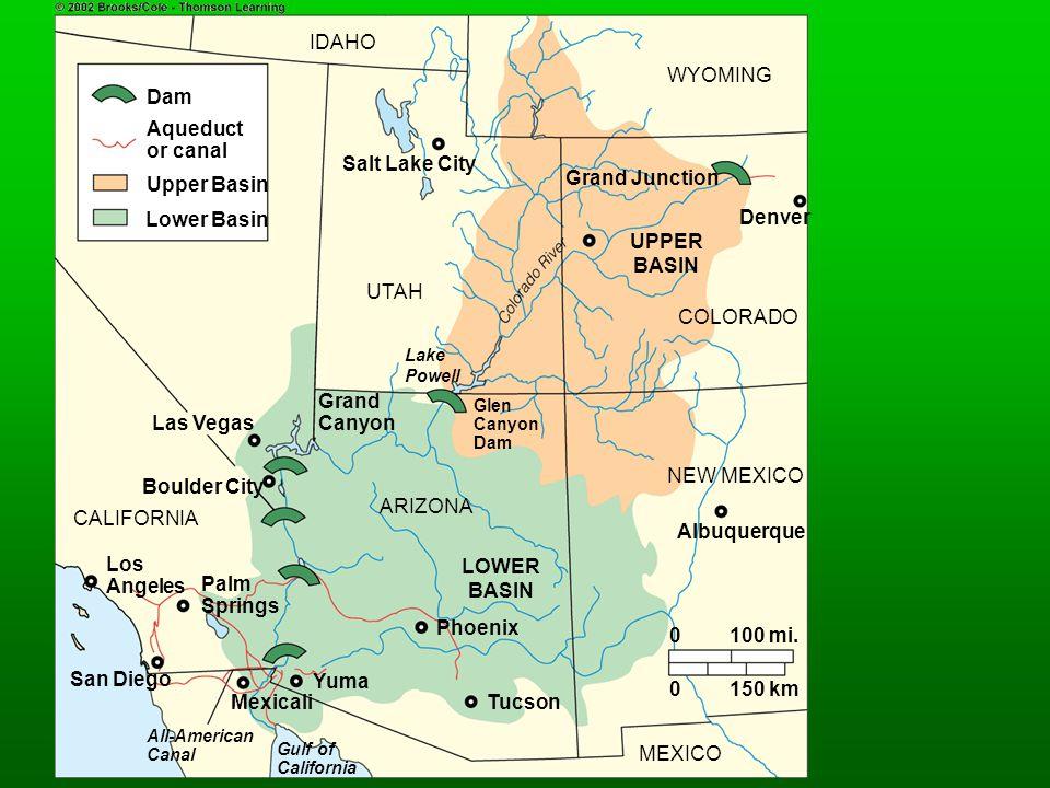 IDAHO WYOMING Dam Aqueduct or canal Salt Lake City Upper Basin