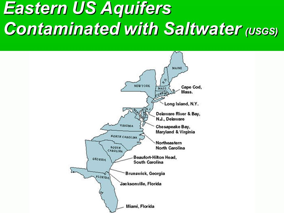 Eastern US Aquifers Contaminated with Saltwater (USGS)