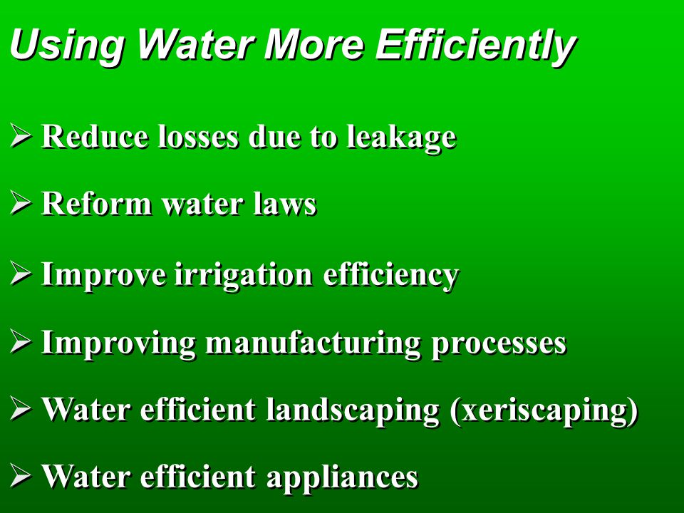 Using Water More Efficiently