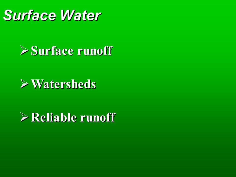 Surface Water Surface runoff Watersheds Reliable runoff