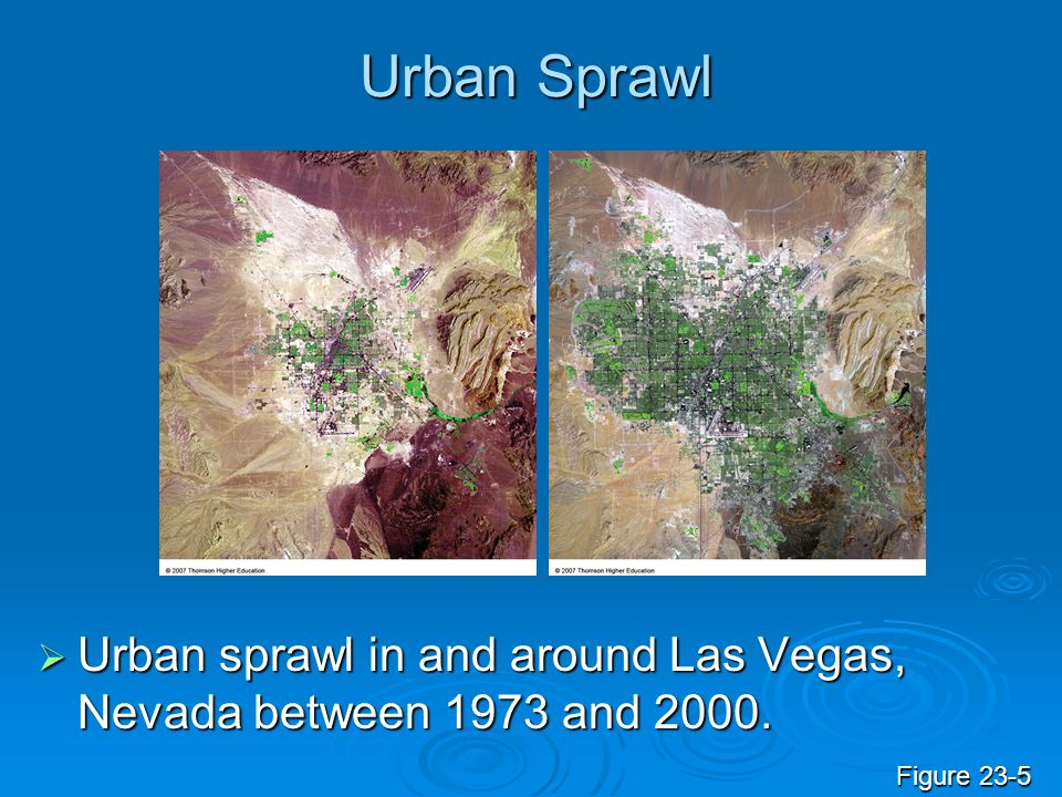 Urban Sprawl Urban sprawl in and around Las Vegas, Nevada between 1973 and 2000. Figure 23-5