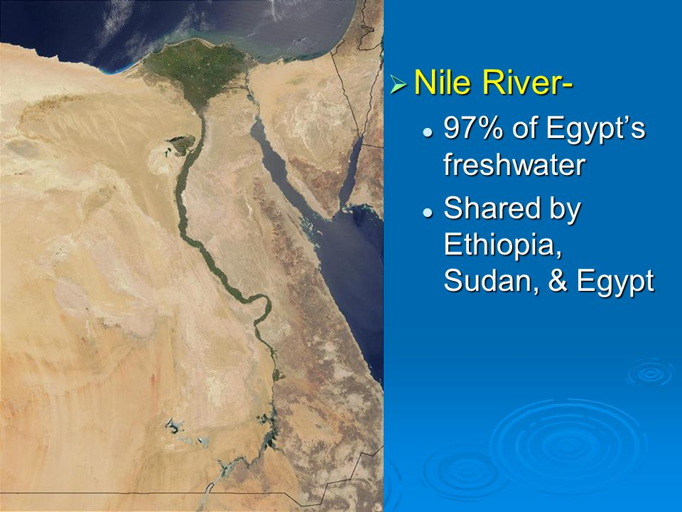Nile River- 97% of Egypt's freshwater