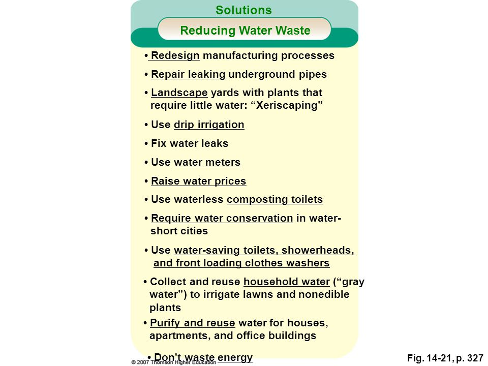Solutions Reducing Water Waste • Redesign manufacturing processes