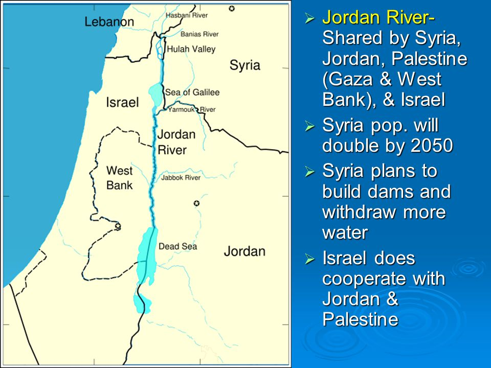 Jordan River- Shared by Syria, Jordan, Palestine (Gaza & West Bank), & Israel