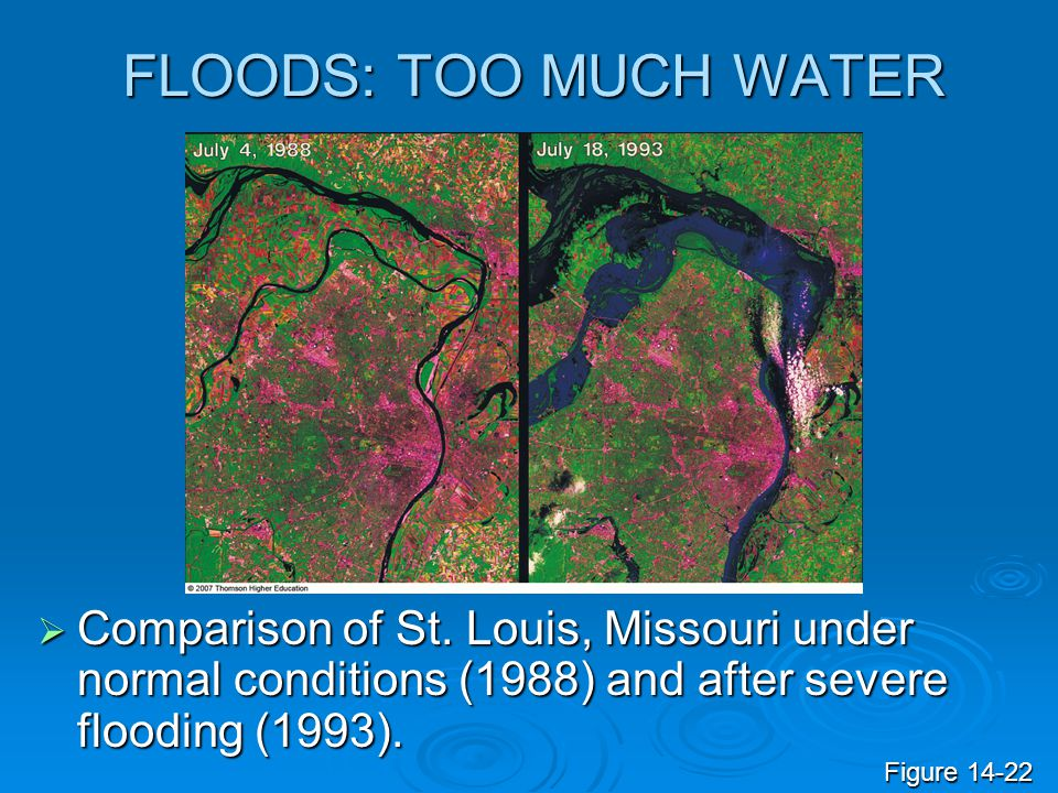 FLOODS: TOO MUCH WATER Comparison of St. Louis, Missouri under normal conditions (1988) and after severe flooding (1993).