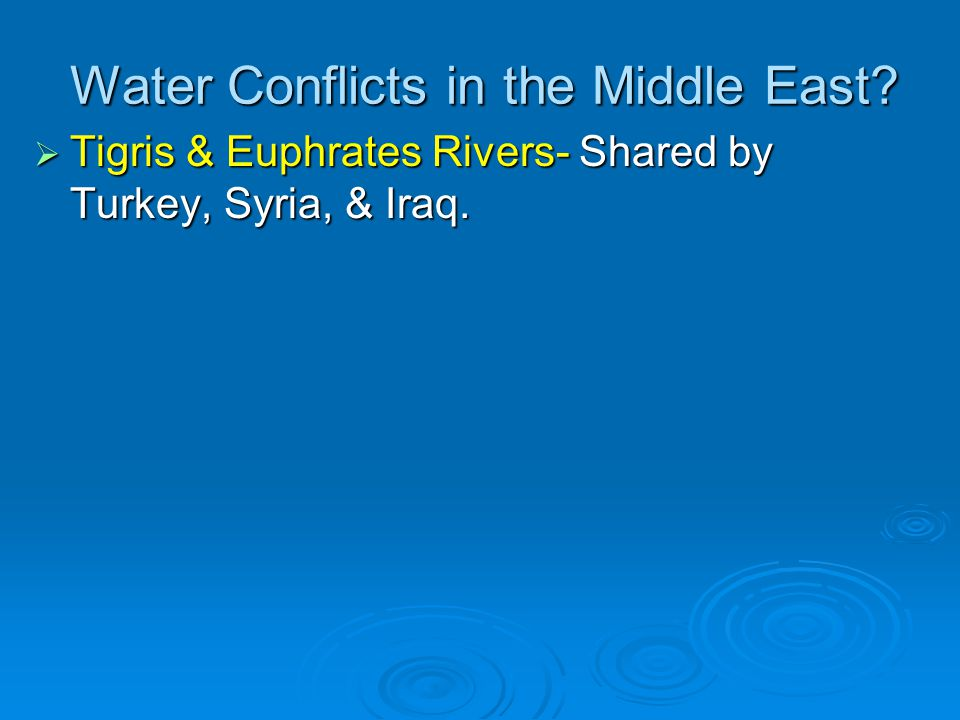Water Conflicts in the Middle East