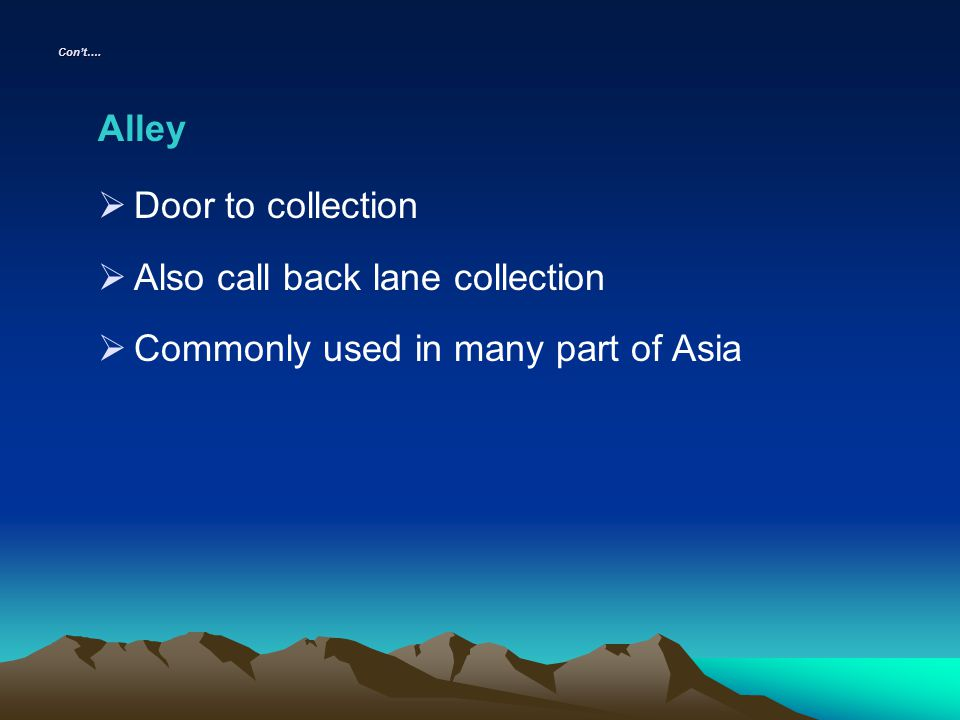 Also call back lane collection Commonly used in many part of Asia