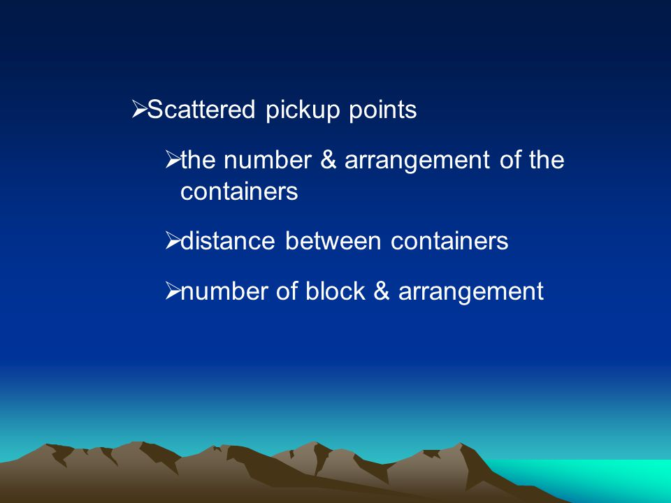 Scattered pickup points
