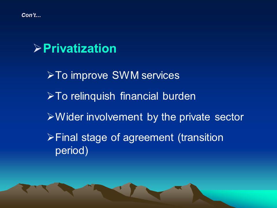 Privatization To improve SWM services To relinquish financial burden