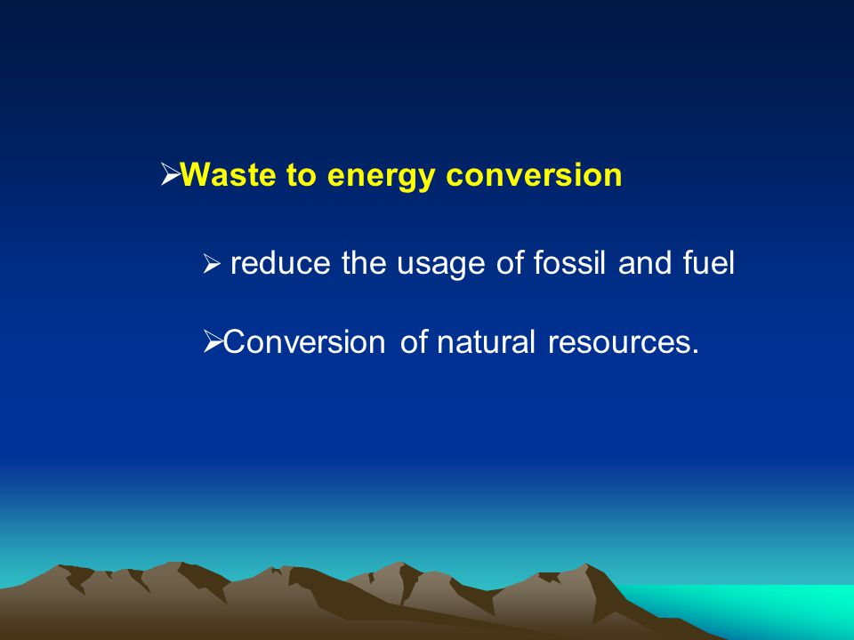 Waste to energy conversion