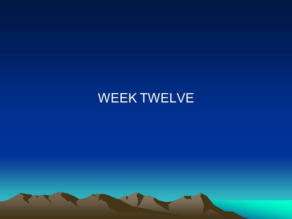 WEEK TWELVE