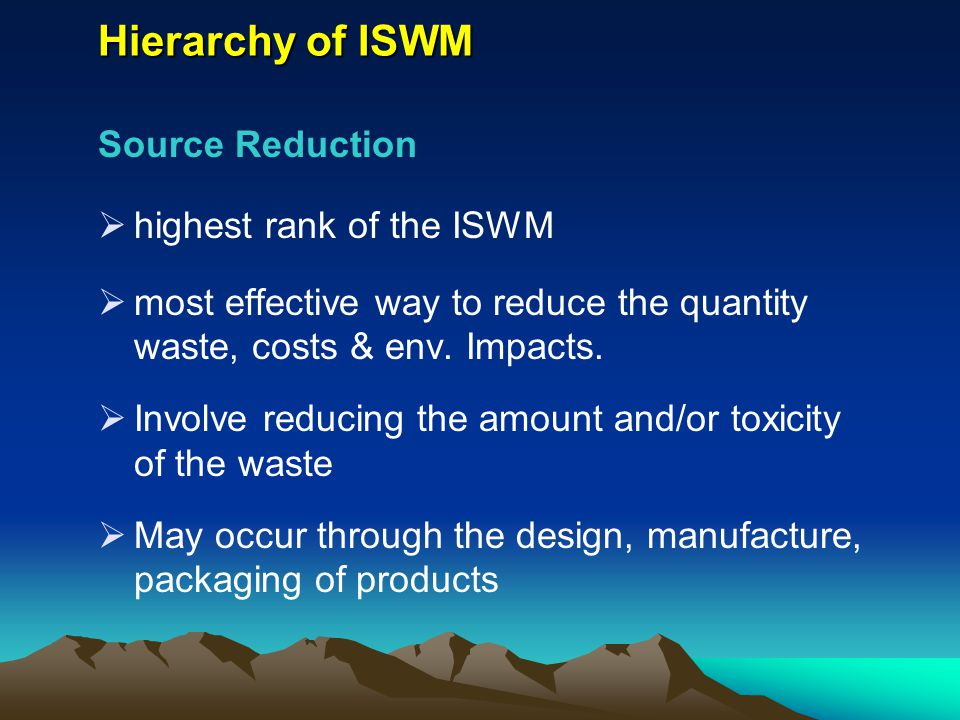 Hierarchy of ISWM Source Reduction highest rank of the ISWM