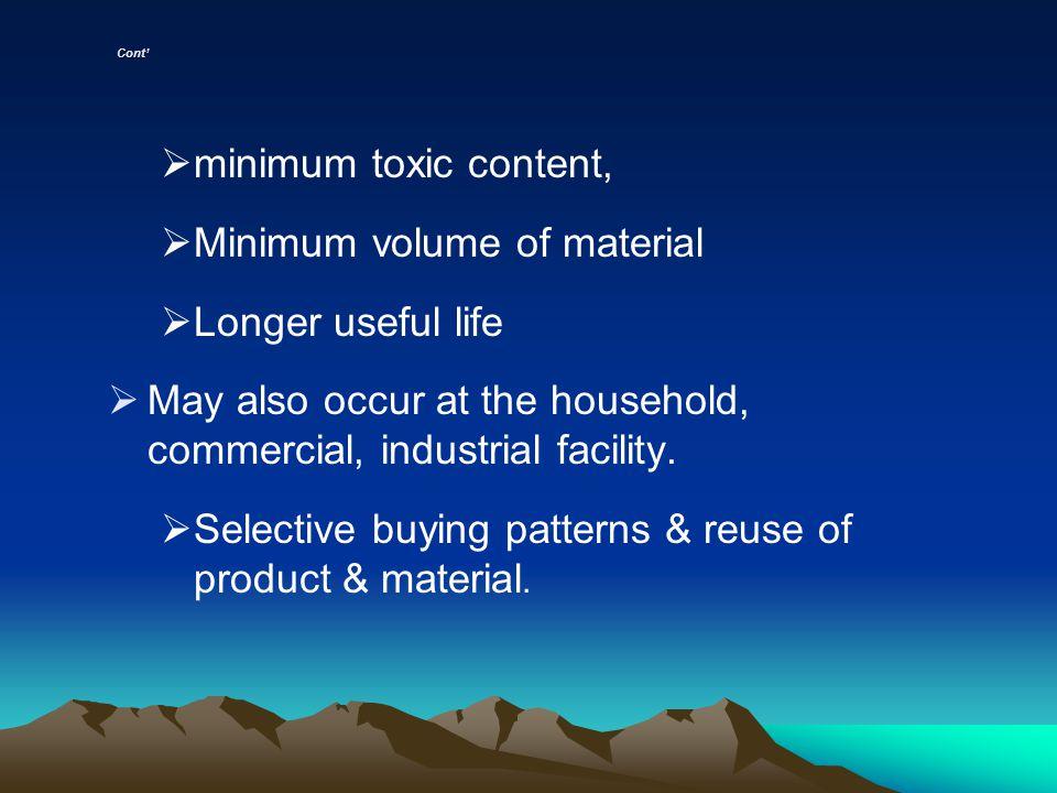 Minimum volume of material Longer useful life