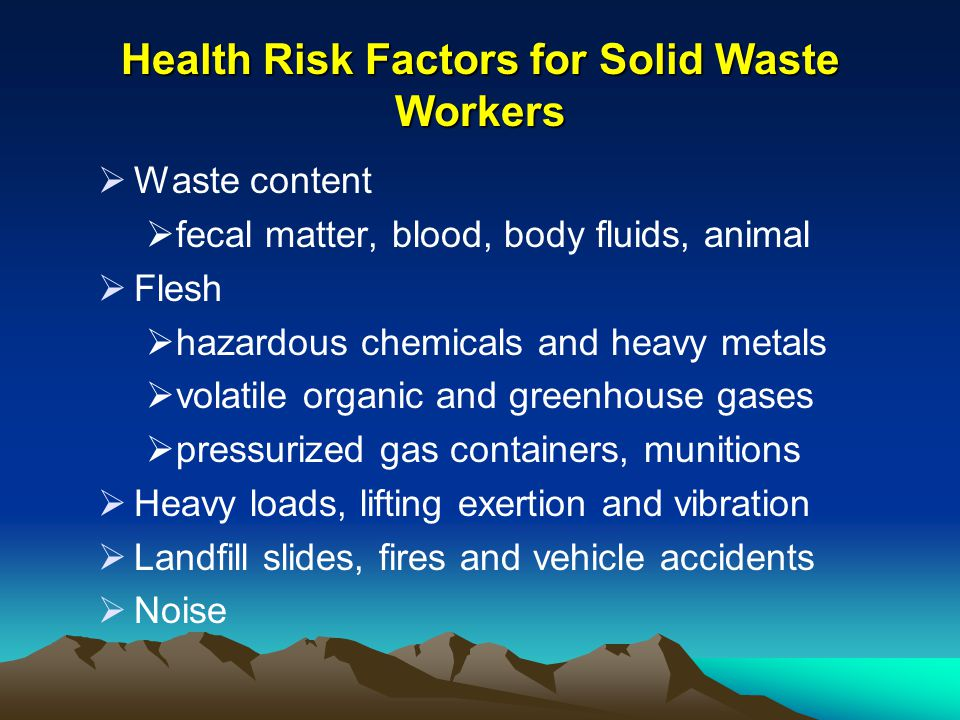 Health Risk Factors for Solid Waste Workers