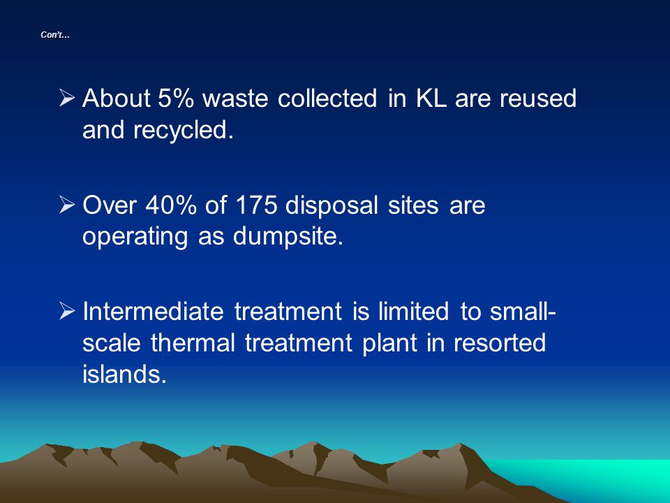 About 5% waste collected in KL are reused and recycled.