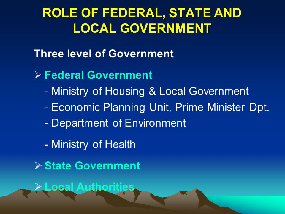 ROLE OF FEDERAL, STATE AND LOCAL GOVERNMENT