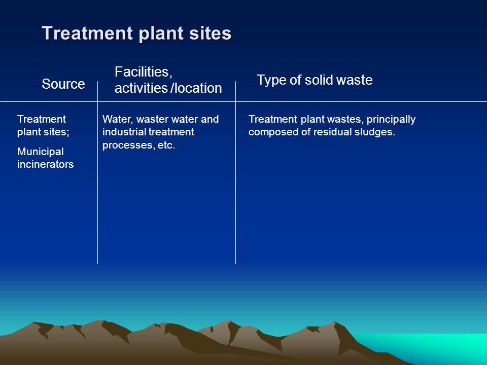 Treatment plant sites Facilities, activities /location