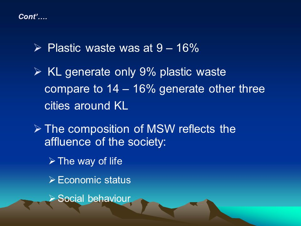 The composition of MSW reflects the affluence of the society: