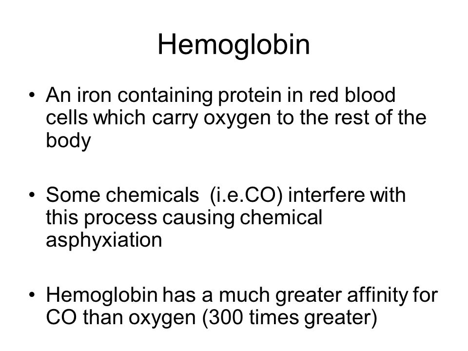 Hemoglobin An iron containing protein in red blood cells which carry oxygen to the rest of the body.