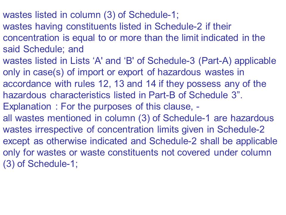 wastes listed in column (3) of Schedule-1;