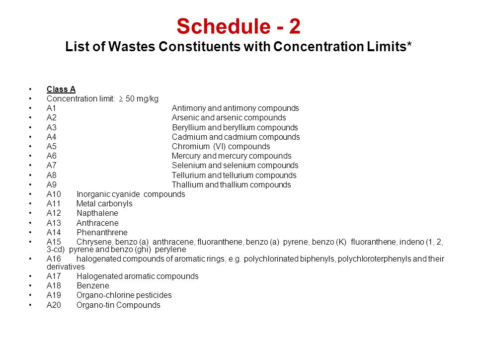 Schedule - 2 List of Wastes Constituents with Concentration Limits*