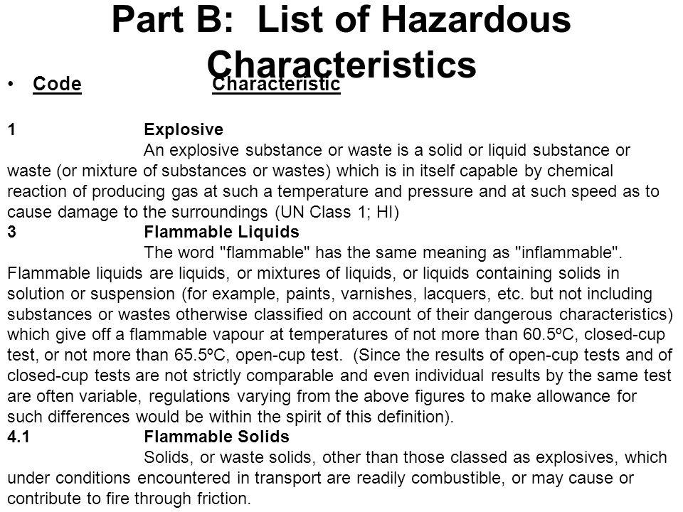 Part B: List of Hazardous Characteristics