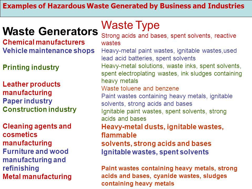 Waste Type Waste Generators