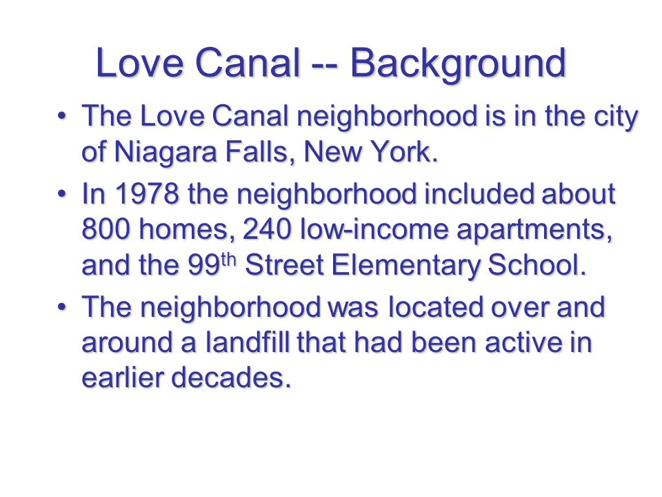 Love Canal -- Background