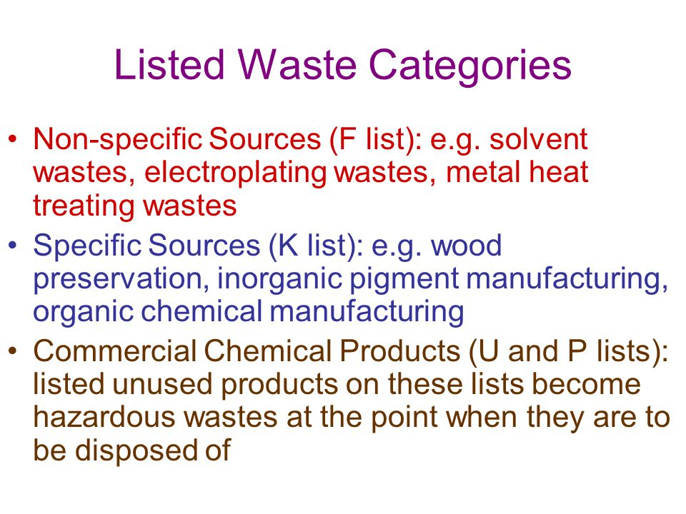 Listed Waste Categories