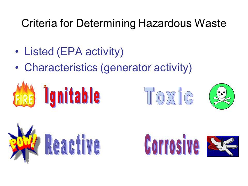 Criteria for Determining Hazardous Waste
