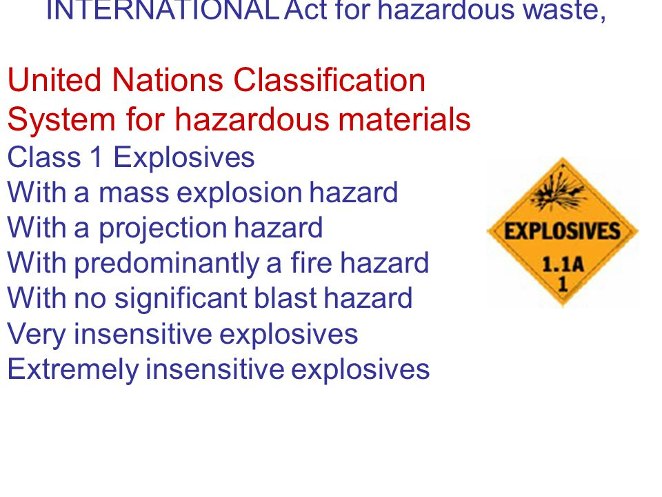 United Nations Classification System for hazardous materials