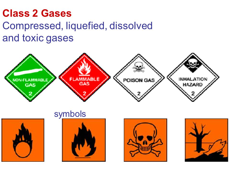 Compressed, liquefied, dissolved and toxic gases