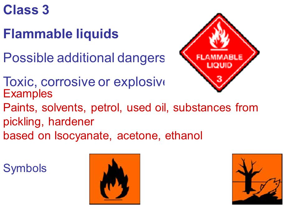 Possible additional dangers: Toxic, corrosive or explosive