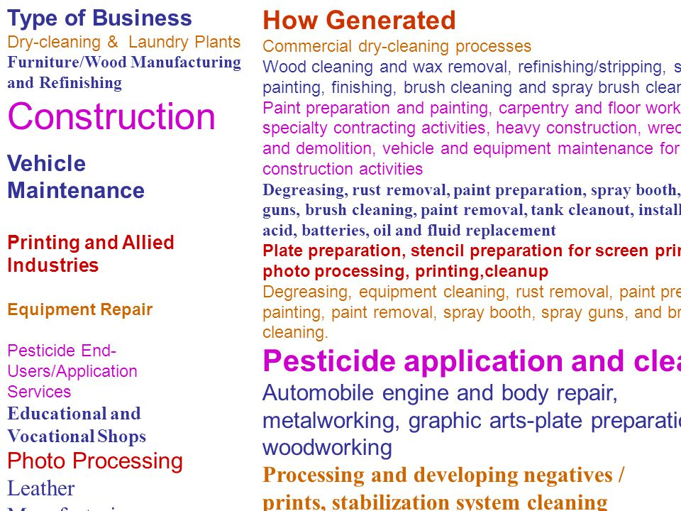 Construction Pesticide application and cleanup How Generated