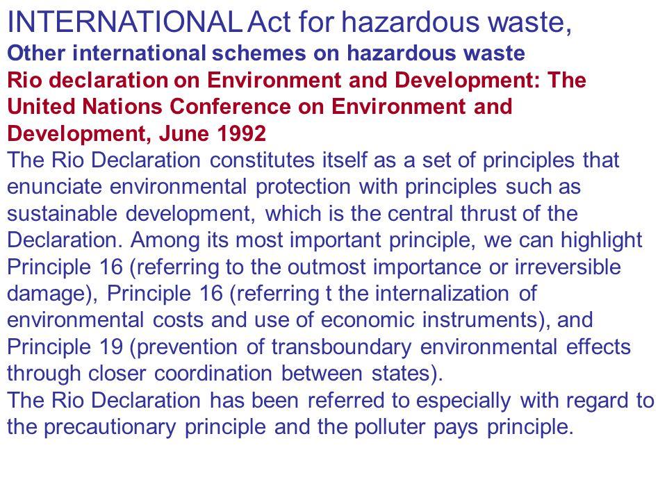 INTERNATIONAL Act for hazardous waste,