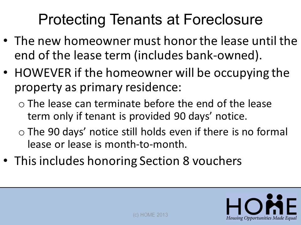 Protecting Tenants at Foreclosure