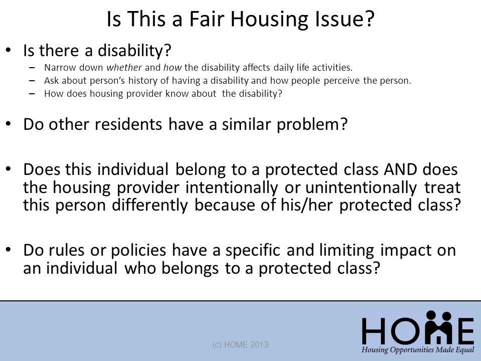 Is This a Fair Housing Issue