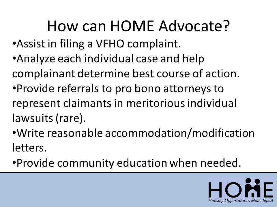 How can HOME Advocate Assist in filing a VFHO complaint.