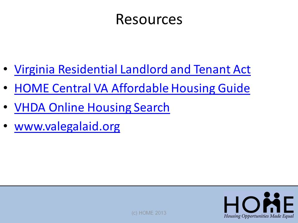 Resources Virginia Residential Landlord and Tenant Act