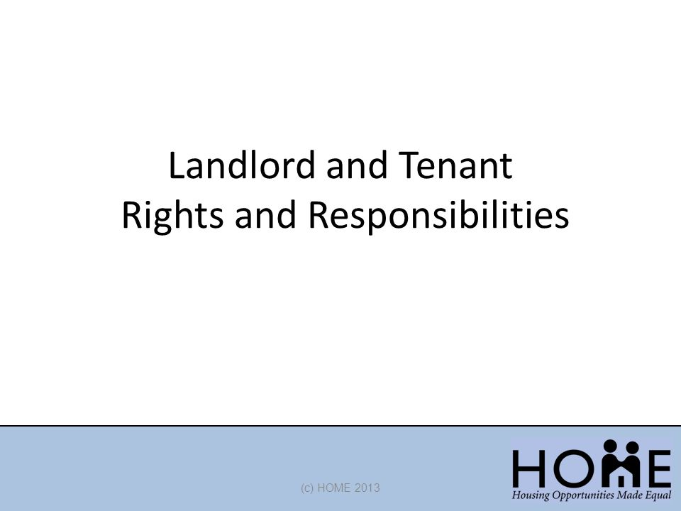 Landlord and Tenant Rights and Responsibilities