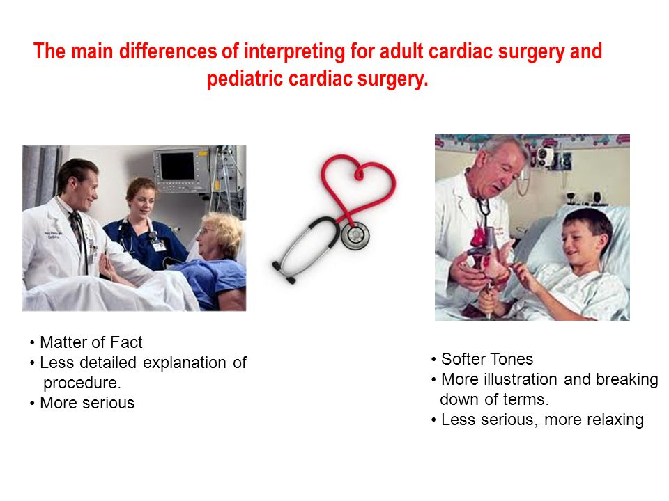 The main differences of interpreting for adult cardiac surgery and pediatric cardiac surgery.